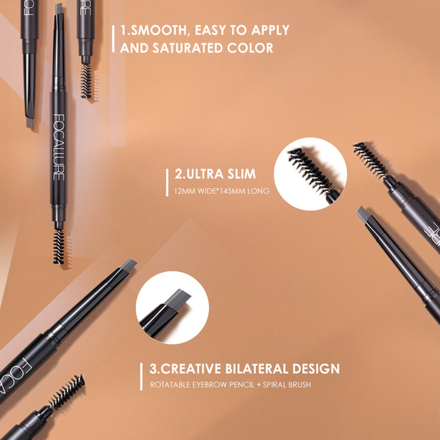 FOCALLURE Eyebrow Pencil 3 Colors Soft And Smooth Automatic Waterproof Natural 1pc Eye brow with brush Makeup tools 1