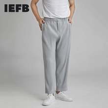 IEFB High Quality Men's Pleated Pants Loose Wide Leg Pants Spring Autumn Straight Casual Pants Western Pants Trendy JF150 9Y5473