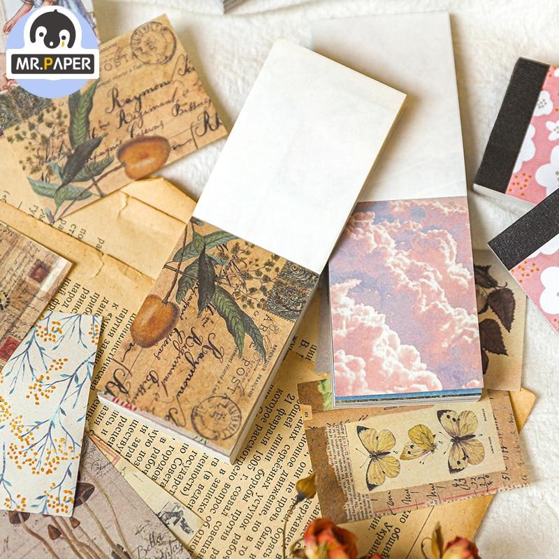 Mr.paper Love DIY Granny Postcard Suit Medieval Stickers With Envelope Handmade Dry Craft Journal Travel Recording Envelopes