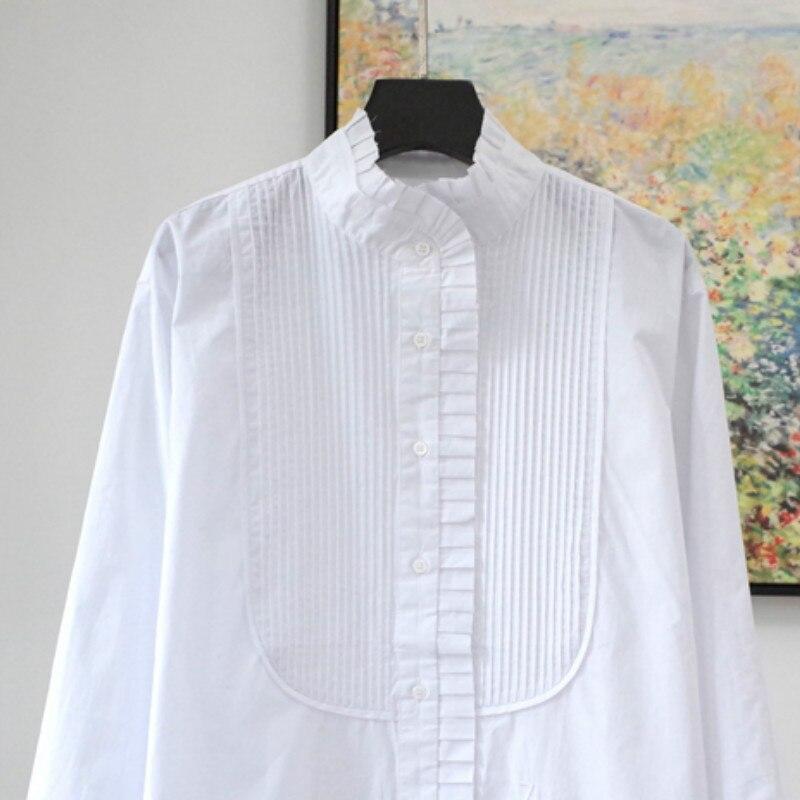 Women Shirt New 100% Cotton White Long Sleeve Shirt
