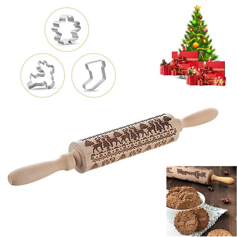 Noel kabartma oklava pişirme kalıplı kurabiye erişte bisküvi fondan kek hamur desenli rulo ren geyiği kar tanesi