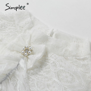 Image 5 - Simplee Streetwear bow tie women lace blouse shirt Stand neck ruffles pearl female white tops Spring summer ladies blouses 2020