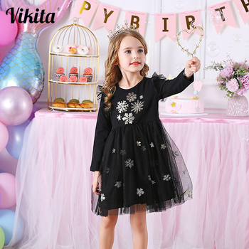 Kids Dresses for Girls Long Sleeve Girls Snowflake Sequins Dress New Year Costume Princess Dress Kids Christmas Clothes Vestidos baby girls dress long sleeve 2018 brand kids winter dresses for girls costume princess christmas dress flower children clothes