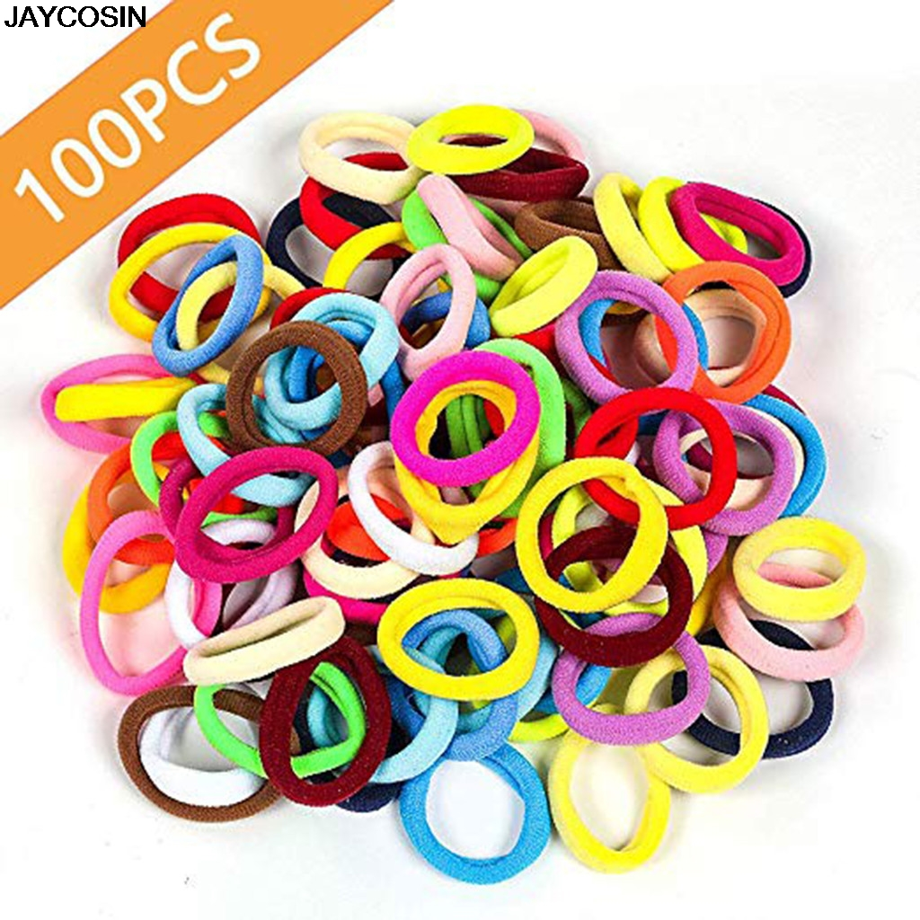 100 Pcs Colorful Child Kids Hair Holders Cute Rubber Hair Band Elastics...
