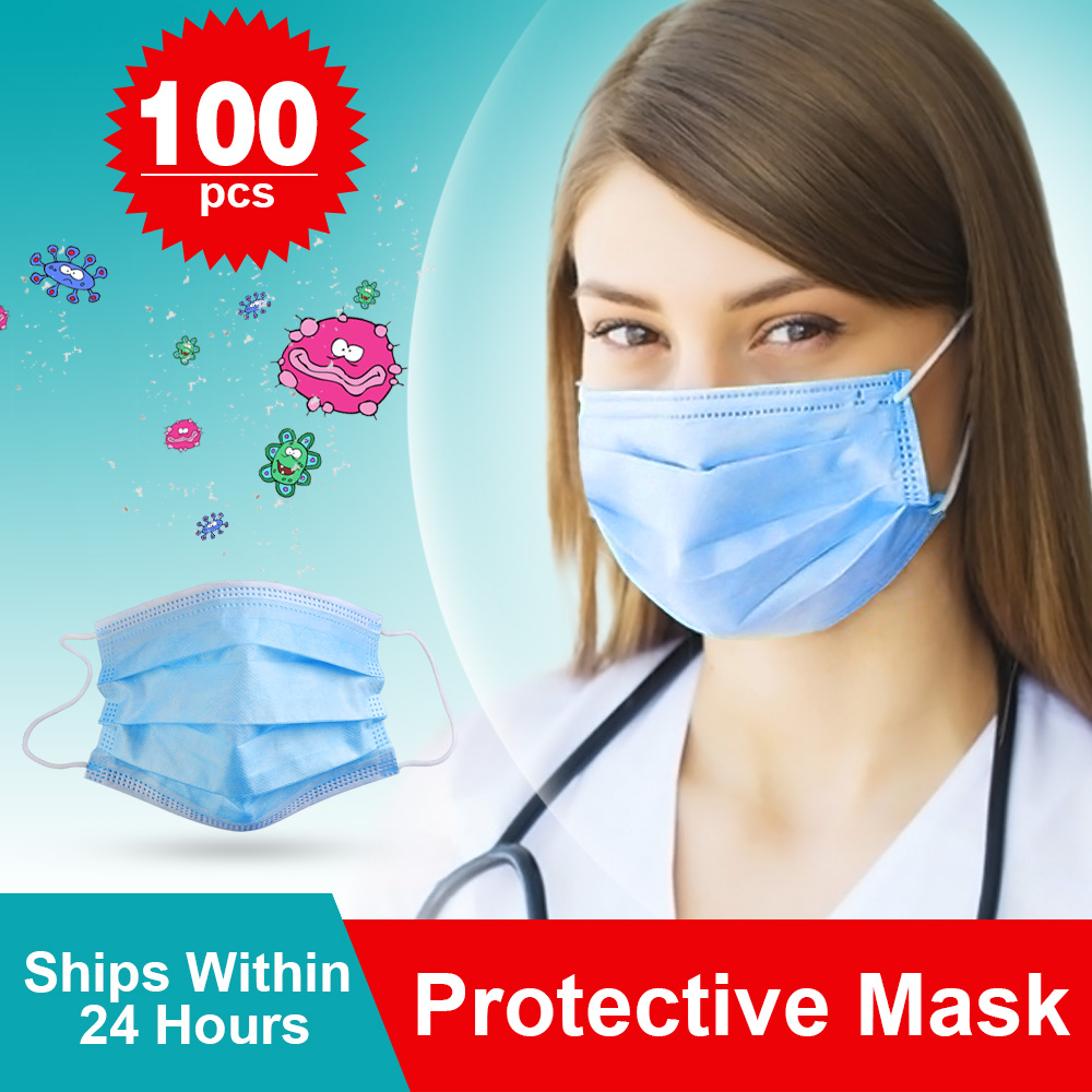 100 PCS In Stock Disposable Protective Mask To Masks 3 Layer Dustproof Fast Delivery