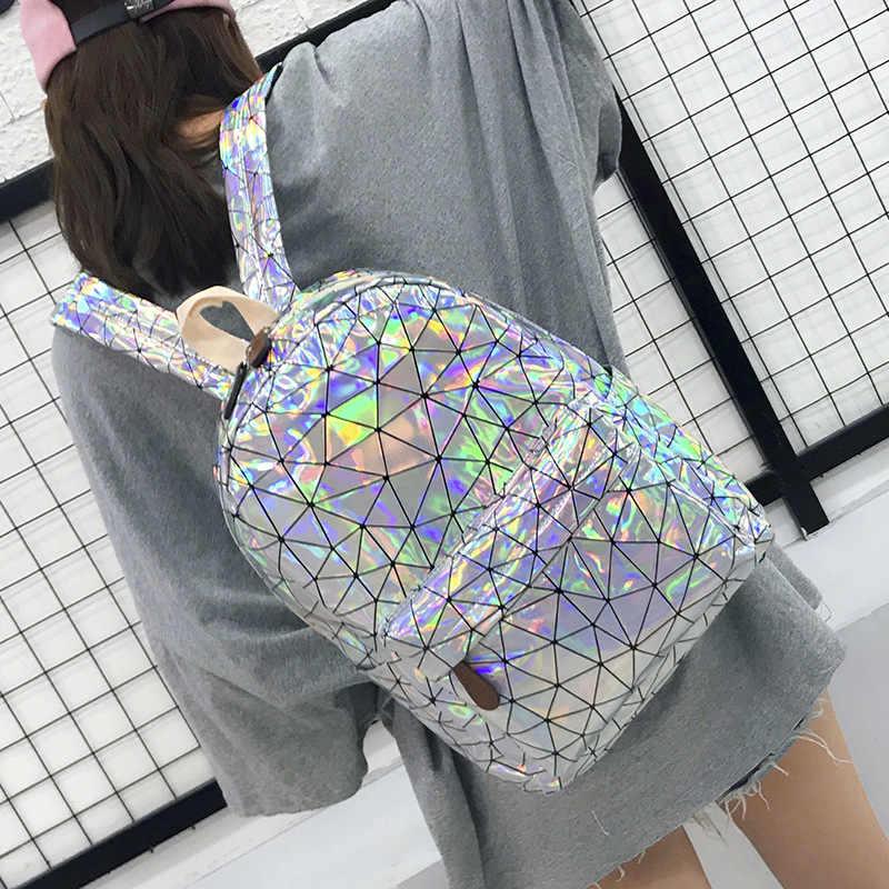 Grande viagem sacos de escola a laser mochila masculino e feminino adolescente campus holográfico bonito bolsa de ombro couro