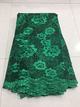 French Bead Lace Fabric Green 2018 Latest African Mesh Tulle Lace Fabric 5Y Nigerian Guipure Lace Fabric High Quality ZJ013