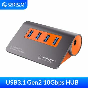 ORICO 4 Port USB3.1 Gen2 HUB USB C  Aluminum 10Gbps SuperSpeed With 12V Power Adapter For Mac Pro Huawei Samsung - discount item  45% OFF Computer Peripherals