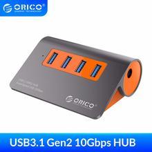 ORICO 4 포트 USB3.1 Gen2 허브 USB C Gen2 알루미늄 허브 Mac Pro Huawei Samsung 용 12V 전원 어댑터가있는 10Gbps SuperSpeed