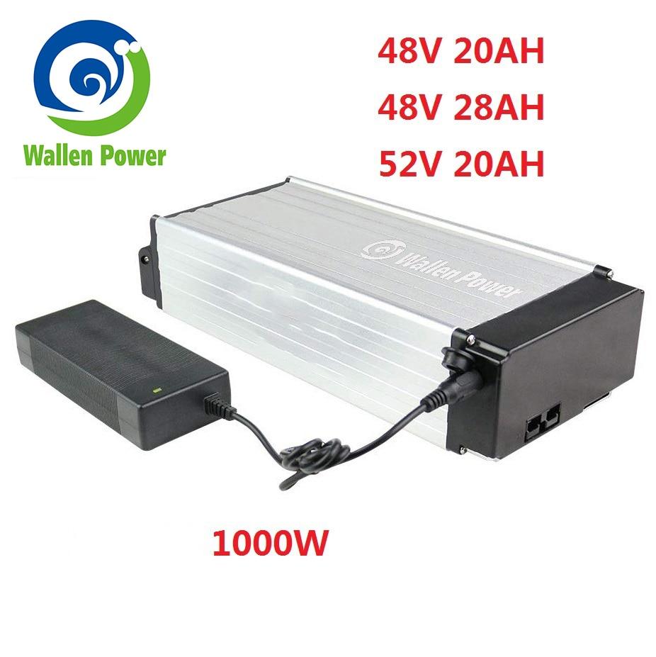 52 volt lithium Rear Rack Battery Electric bicycle battery 48V 20Ah 1000W 28Ah ebike battery for electric bike motor 1500W