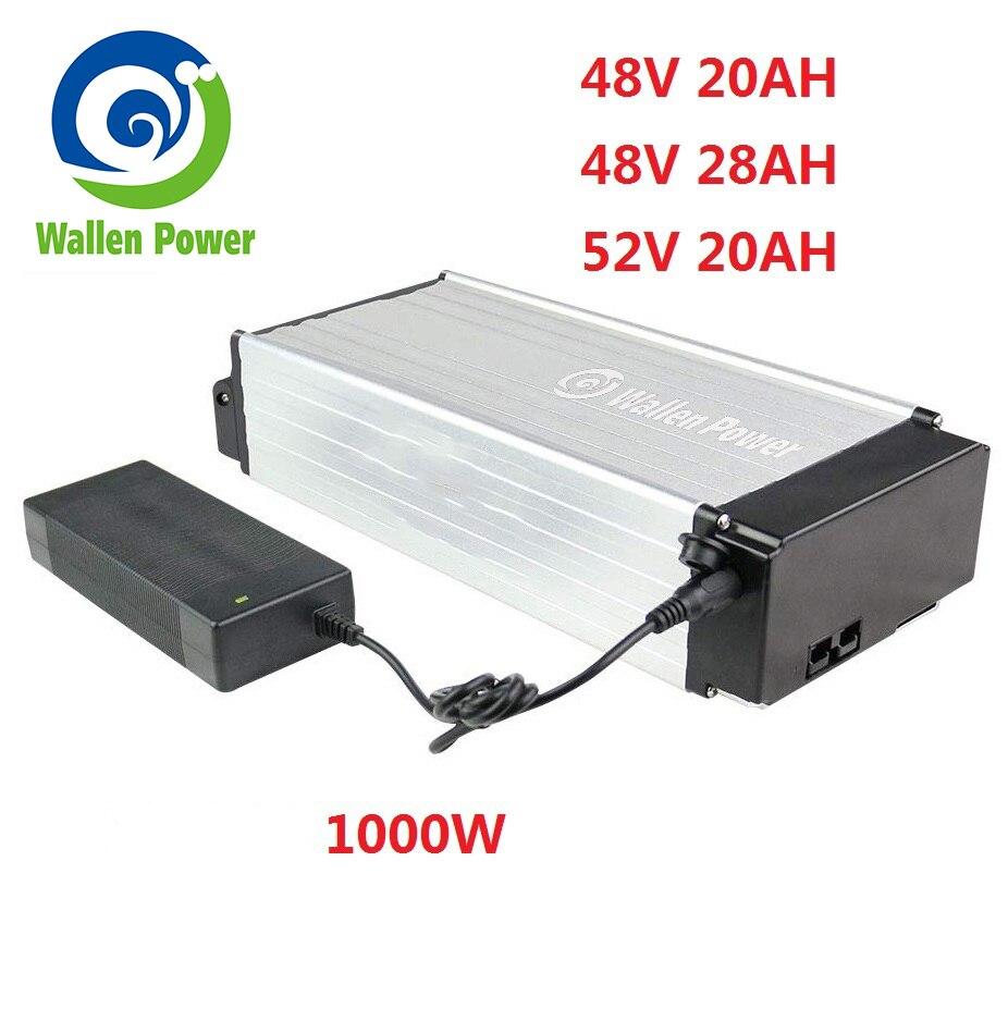 Batterie de vélo électrique batterie de support arrière au lithium 52 volts 48V 20Ah 1000W 28Ah ebike batterie pour moteur de vélo électrique 1500W