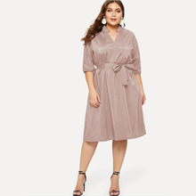 Women Plus Size Autumn Winter Dress Elegant Loose Clothes Large Size Casual Office Long sleeve  L-6XL