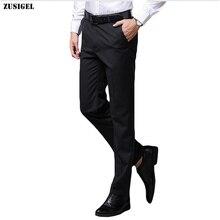 ZUSIGEL 古典的なスリムフィット黒のスーツのズボンスマートカジュアルオフィスパンツ男性ストレートロングメンズドレスパンツ