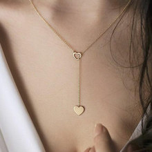 Trendy Simple Heart Pendant Gold Silver Color Popular Cute Romantic Tiny Necklaces Girl Women Gift Wedding Jewelry Wholesale(China)