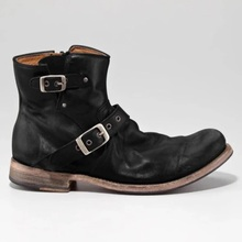 Men New Fashion Pu Leather Buckle Low Heel Round Toe Ankle S