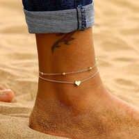 Tobilleras de mujer de corazón Simple sandalias de ganchillo descalzas pie joyería pierna nuevas tobilleras en el tobillo de pie pulseras para mujer Cadena de piernas