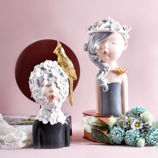 2020 New Arrial Nordic Ins Home Decorations People Statues Resin Figurines Flower Woman Sculpture Living Room Decoration Crafts 4
