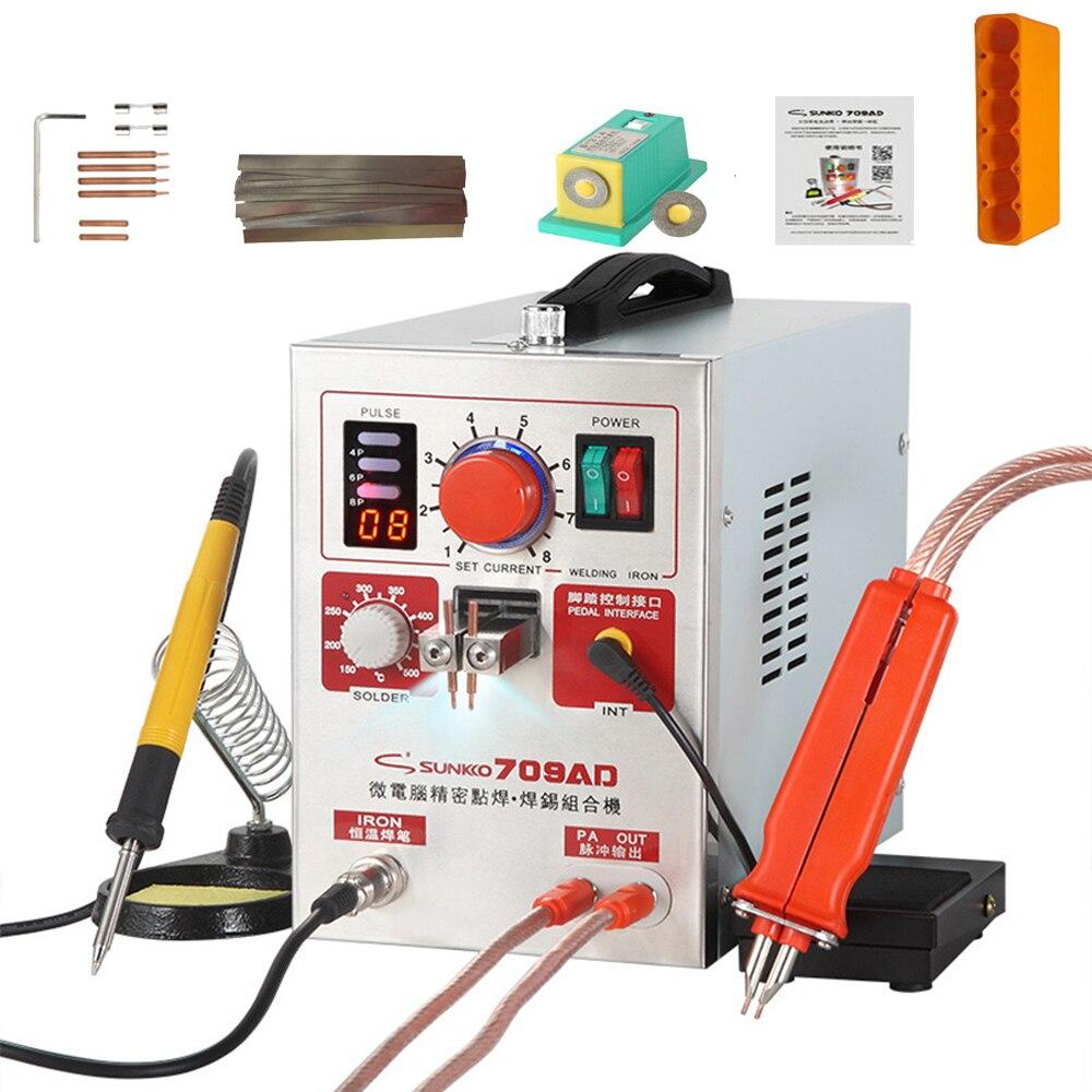 دستگاه جوش نقطه ای پالس بالا SUNKKO 709AD دستگاههای جوشکاری نقطه باتری 2.2kw با قدرت بالا با قلم جوشکار نقطه آهن 110V 220V