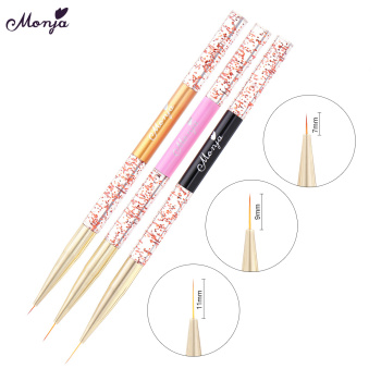 Monja 3 Pcs Nail Art Acrylic Liner Painting Brush French Lines Stripes Grid Pattern Drawing Pen 3D DIY Tips Manicure Tools