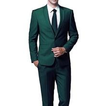 Ciemny zielony wieczór Party garnitury męskie dla suknia ślubna 3 sztuka kurtka spodnie Tie wykończenia Fit suknia ślubna szyta na zamówienie smokingi dla pana młodego tanie tanio VANLYXCCI CN (pochodzenie) Poliester Groom wear REGULAR Mieszkanie Przycisk fly Pojedyncze piersi 2020092001 Satyna