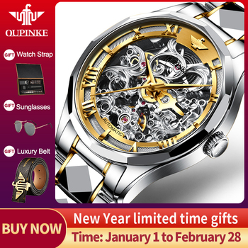 OUPINKE 2020 Luxury Men Mechanical Wristwatch Skeleton Automatic Watch Top Brand Sapphire Waterproof relogio masculino - discount item  85% OFF Men's Watches