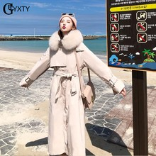 GBYXTY Ladies Elegant Long Down Trench Coat 2019 Winter Real Fox Fur Hooded Long Thick Women Duck Down Jacket Parka Mujer ZA1805(China)