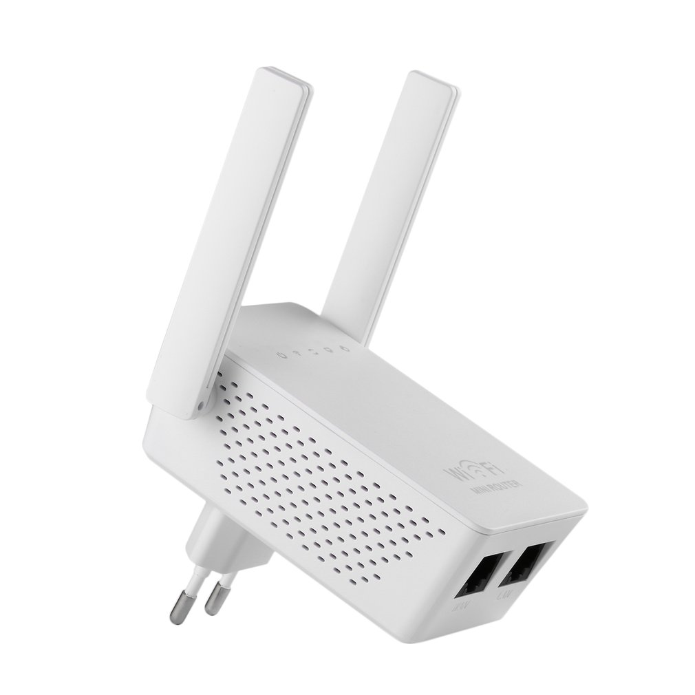 White WiFi Range Extender 300Mbps Wireless-N AP/Repeater/Router Dual Antennas EU Universal Compatibility Mini Size