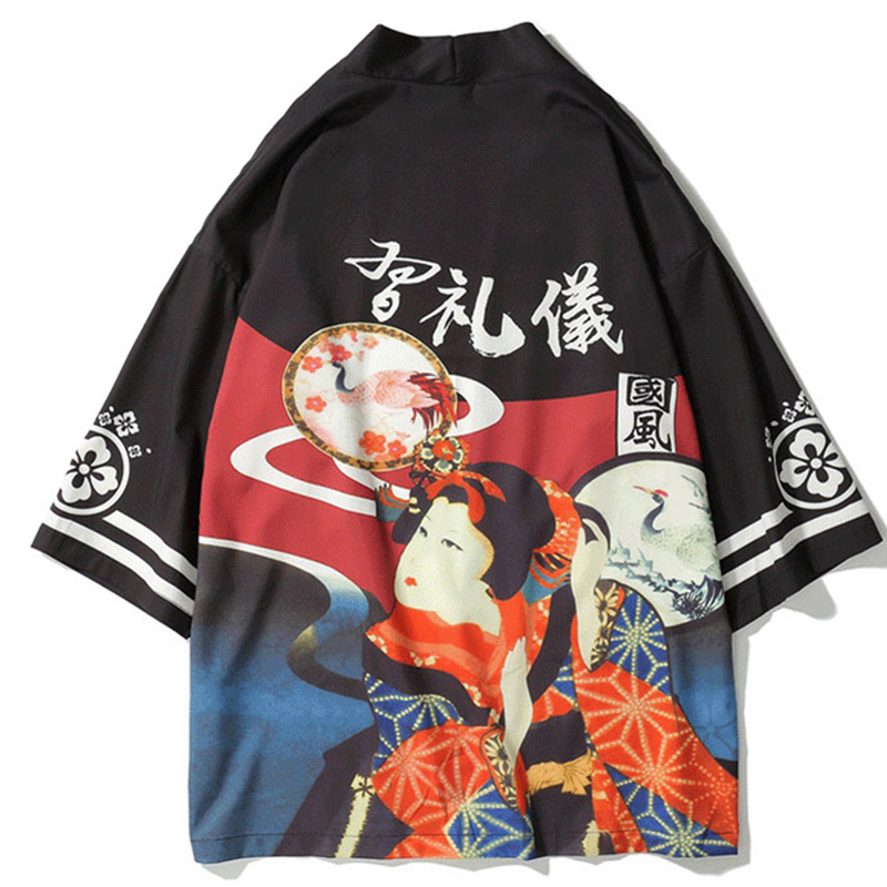 Samurai Crane Japanese Style Kimono Haori Men Women Cardigan Chinese Dragon Traditional Japanese Clothing Asian Clothes A