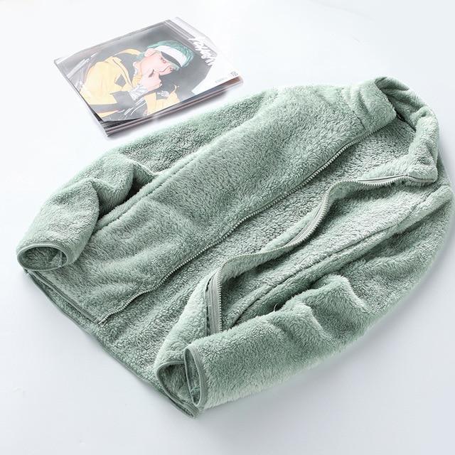 New Winter Wool Fleece Jacket Women Thick Cardigan Sweater Thermal Windproof Spring Windbreaker Female Hooded Warmer Coat M-4XL 2