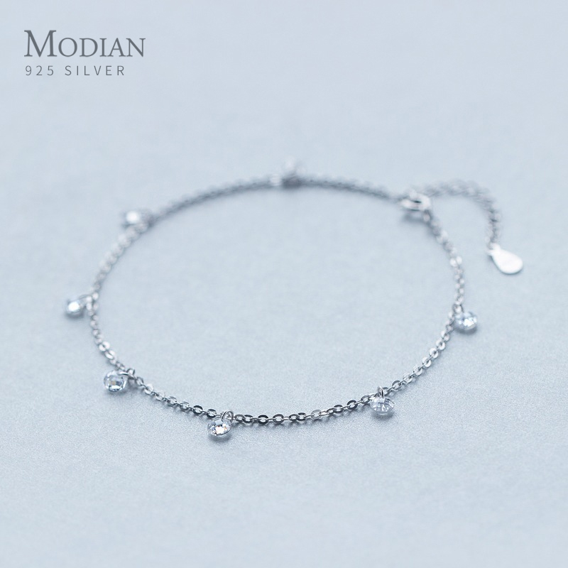 Modian Shining Zircon Anklet Authentic 925 Sterling Silver Fashion Barefoot Original Chain Bracelet For Women Fine Jewelry
