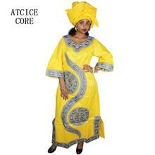 Африканские платья для женщин Модный Дизайн Африканский Базен вышивка дизайн платье длинное платье с шарфом Два шт один комплект LA009