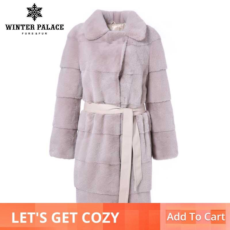 Inverno di modo di nuovo Lungo visone cappotto di pelliccia Corta di delle donne di colore reale del visone