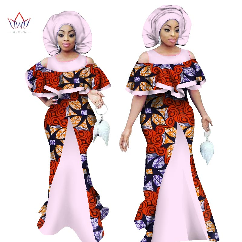 Afrikansk Maxi klänning för kvinnor Ärmlös Dashiki Print sjöjungfruklänningar Afrikastil med huvudbonad Plus storlek BRW WY1065