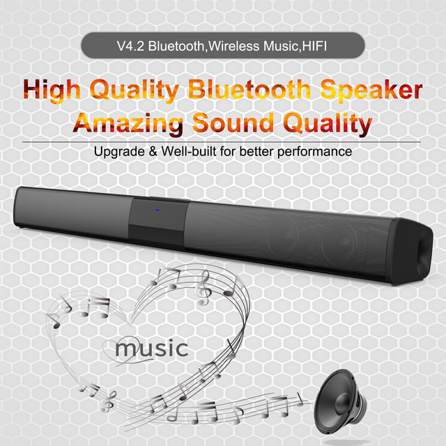 Home theater HIFI Portable Wireless Bluetooth Speakers column Stereo Bass Sound bar FM Radio USB Subwoofer for Computer TV Phone 5