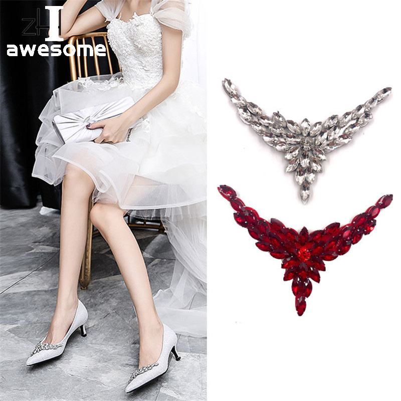 Shining Beautiful Crystal Flower Bridal Wedding Party Shoes Accessories For High Heels Shoes Manual Rhinestone Shoe Decorations