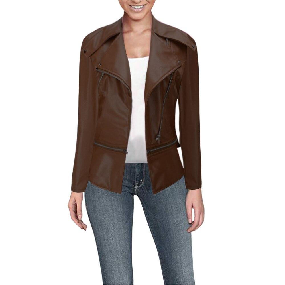 SHUJIN Women's PU jacket spring autumn high quality PU fur coat women's motorcycle   leather   jacket zipper two wear coat 2019