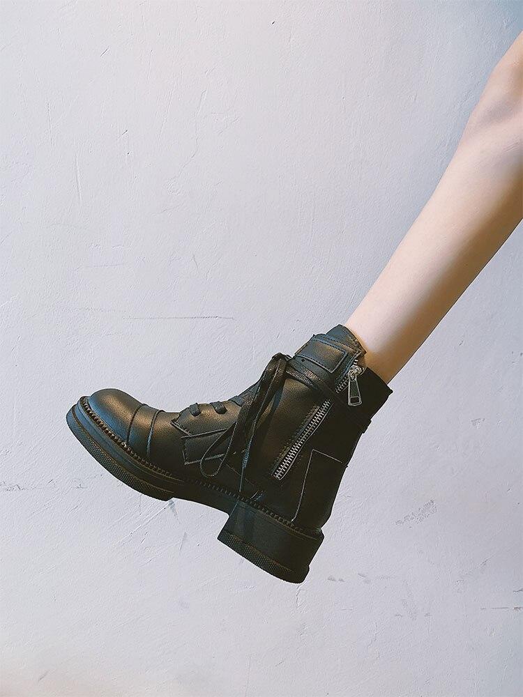 LMCAVASUN/Модные ботильоны; Зимние ботильоны; женские ботинки из искусственной кожи; Рабочая обувь с круглым носком; женская обувь на шнуровке; Ц...