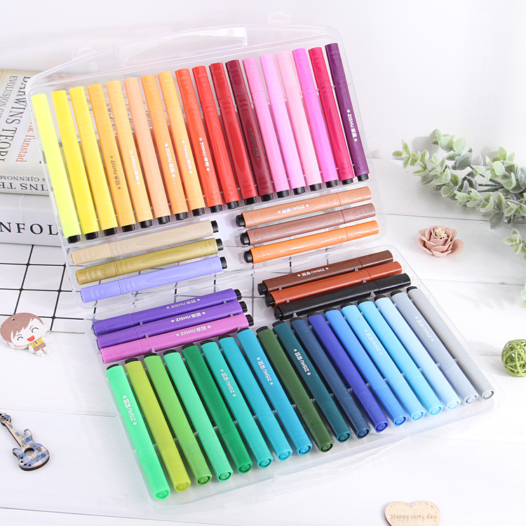 Zi Shu Children Triangle Pole Brush Washable Water Crayon Environmentally Friendly Pencil Set Color Brush Pen Factory Wholesale