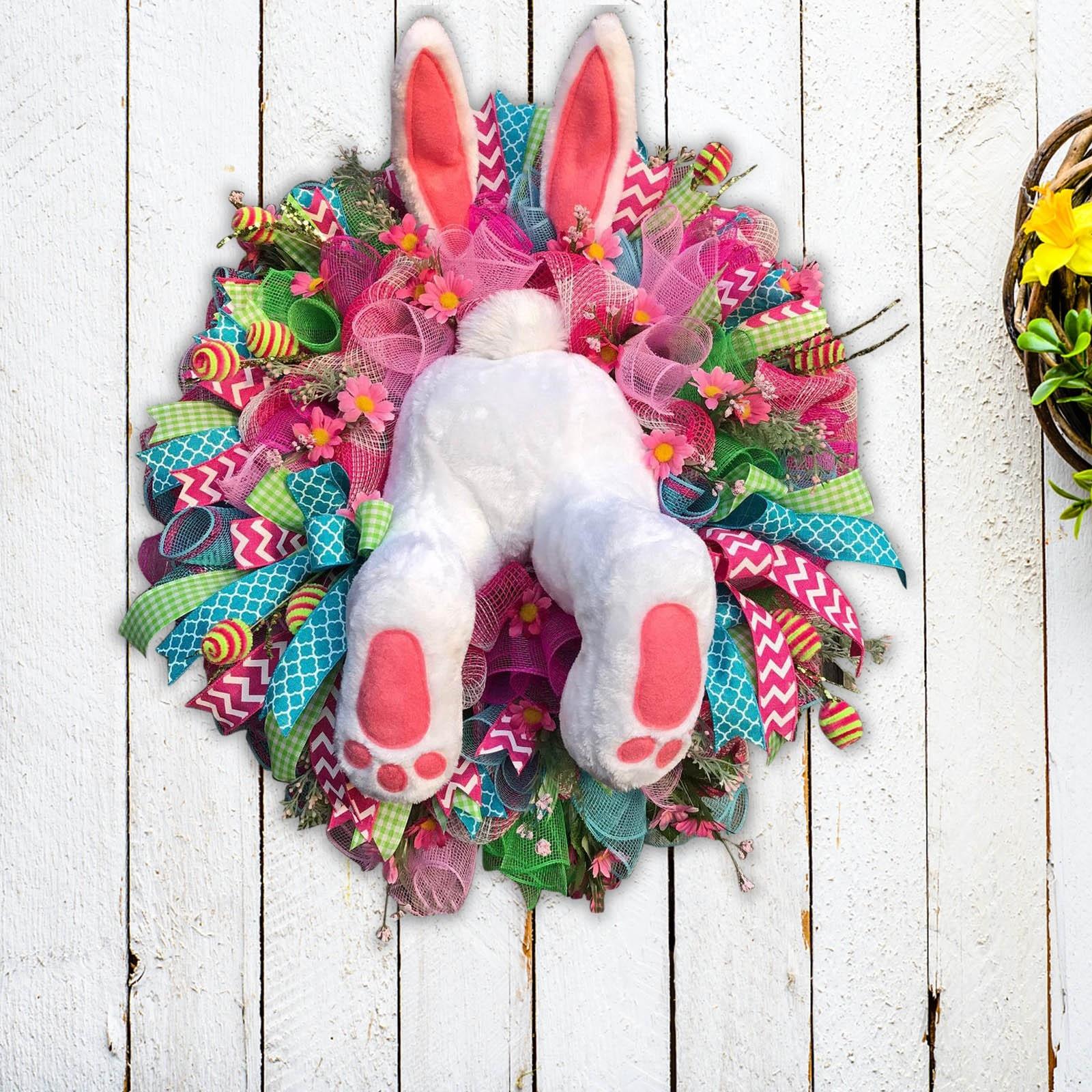 DIY Украшение Пасхальный кролик венок забавный кролик мультфильм животных украшения для дверей и окон DIY подвесная гирлянда для домашнего де...