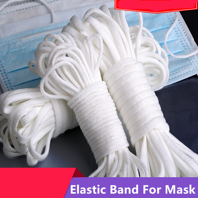 3MM Mouth Mask Elastic Band N95 Mask Rubber Band Tape String Mask Ear Cord Round Elastic Band Clothing Craft Accessories 10Yards