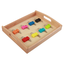 BQY Montessori Educational Toy Materials Wood Tray Locks Brushing Teeth Exercise Sensorial