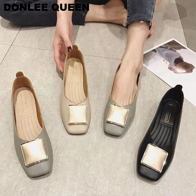 DONLEE QUEEN Brand Flats Ballet Shoes Women New Summer Ballerina Square Toe Shallow Buckle Flat Shoes Slip On Casual Loafer Shoe