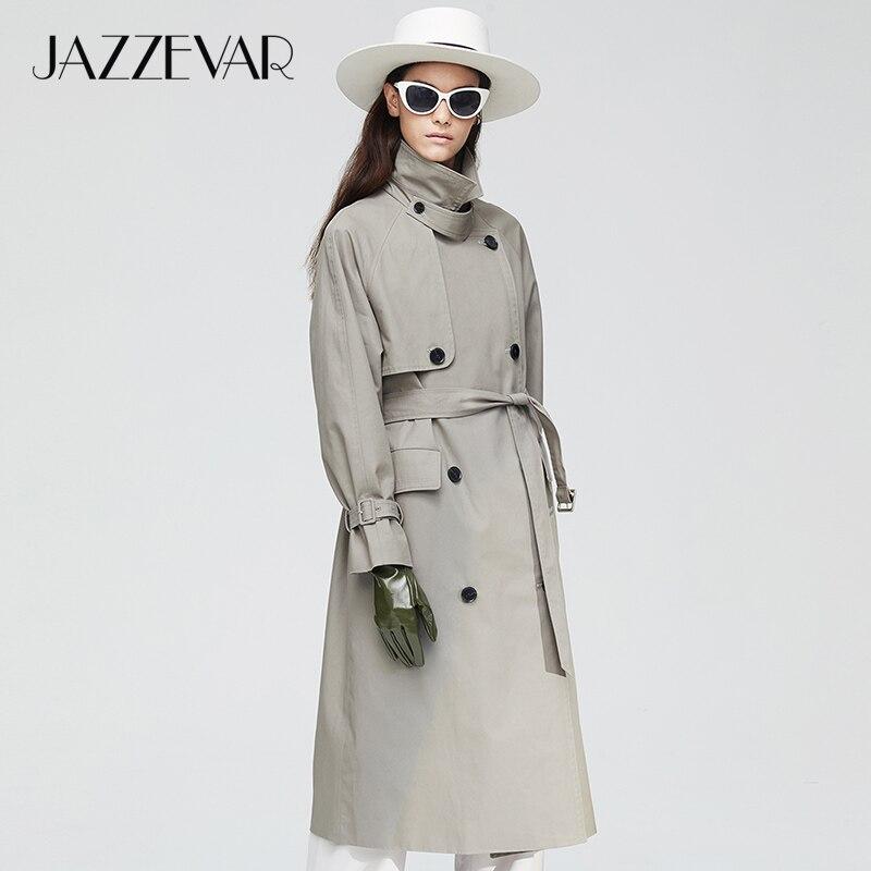 JAZZEVAR 2019 Новое поступление осенний тренч женский топ цвета хаки длинная хлопковая верхняя одежда свободная одежда с поясом модное пальто для осень 9019