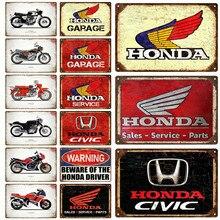 Honda garagem placa de metal do vintage estanho sinal de metal chique decoração de metal sinais de metal do vintage bar decoração de metal poster pub placa de metal