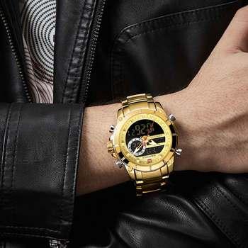 NAVIFORCE Men's Dual Display Military Fashion Stainless Steel Waterproof Complete Calendar Quartz Watches 3