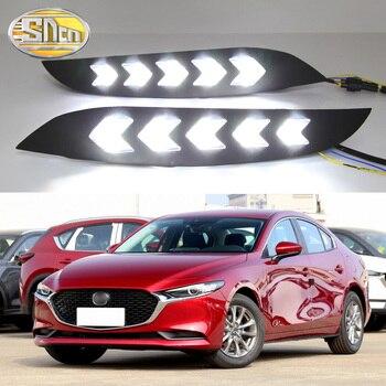 2PCS LED Daytime Running Light For Mazda 3 Axela 2019 2020 Dynamic Yellow Turn Signal Relay Waterproof Car 12V DRL Lamp