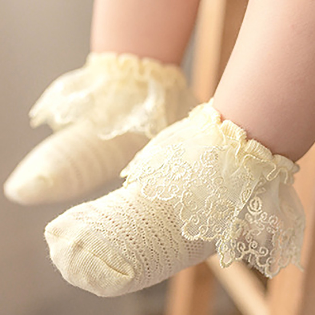 Lovely Sweet Ankle Baby Girls Lace Frilly Ruffle Princess Socks Big Bow Cotton