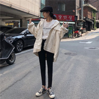 Photo Shoot 2019 Autumn South Korea INS College Versatile Couples Loose Fit Mock Two Piece Splittable Hooded Cowboy BF Coat