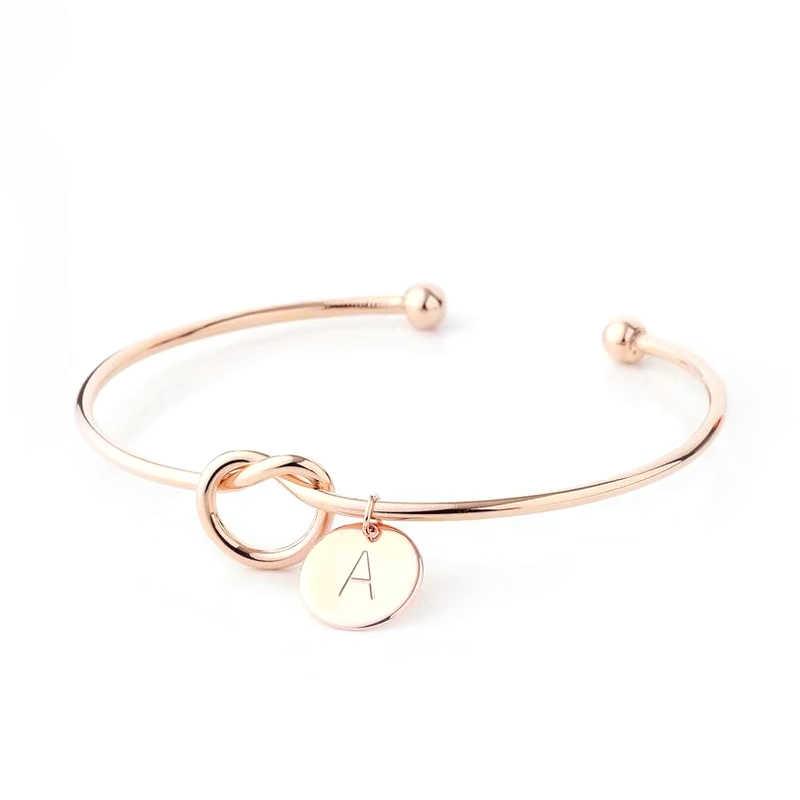 Proste różowe złoto 26 list urok marki otwarcie bransoletka dla kobiet mężczyzn kochanek inicjały pary oryginalne bransoletki Bangle biżuteria