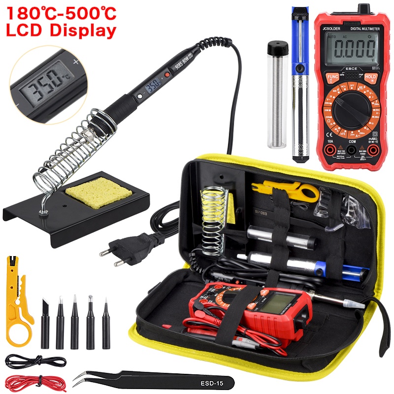JCD Soldering Iron Kit With Digital Multimeter 6000 Counts Auto Ranging AC/DC Voltage Meter Flash Light Solder Iron Welding Tool